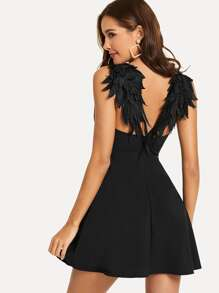 Contrast Wing Back Cami Skater Dress
