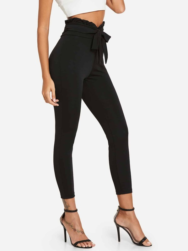 584b22fbf6 Frill Belted Solid Trousers | SHEIN UK