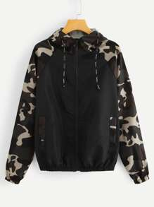 Contrast Camo Panel Raglan Sleeve Jacket