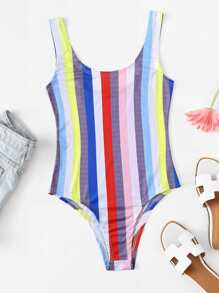 Contrast Striped Bodysuit