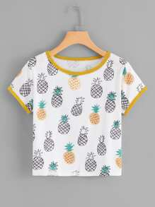 Contrast Trim Pineapple Print Tee