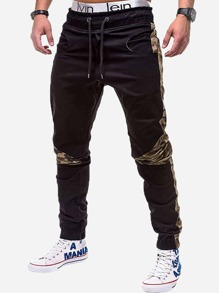Men Contrast Camo Drawstring Waist Pants