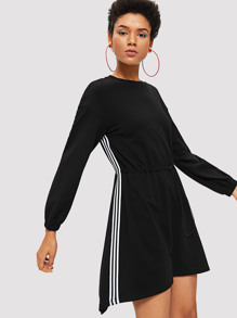 Side Striped Waist Drawstring Dress