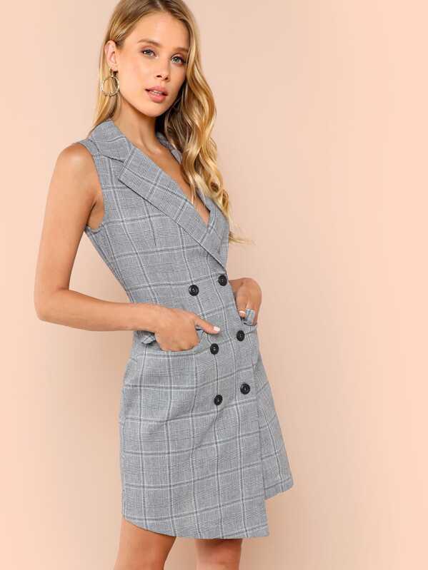 e028aeb5e Cheap Double Breasted Glen Plaid Vest Dress for sale Australia