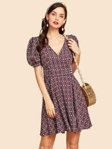Puff Sleeve V Neck Fit & Flare Dress