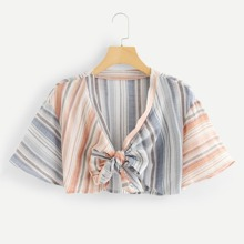 Knot Front Crop Striped Top
