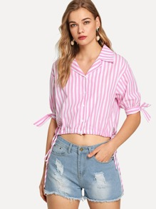 Notched Collar Knot Striped Shirt