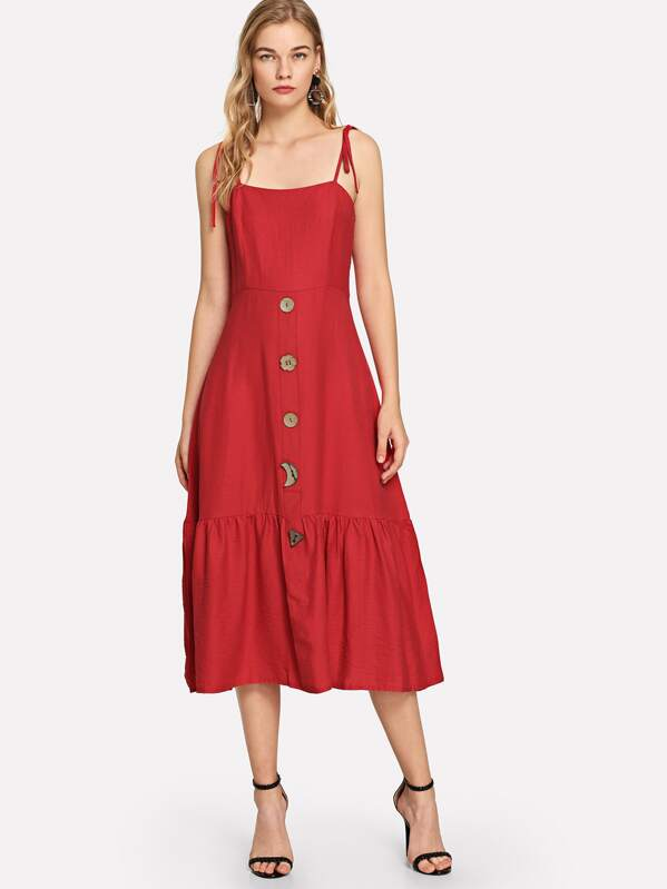 d198281fce Cheap Tied Shoulder Button Up Ruffle Dress for sale Australia | SHEIN