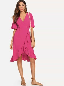 Neon Pink Ruffle Hem Buttoned Wrap Dress