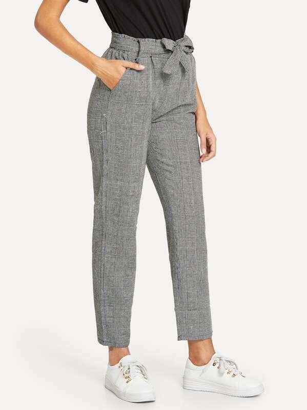 400887ce0d Pantalones de cuadros con cinturón de cintura elástica