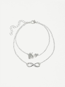 Letter K Detail Layered Chain Anklet
