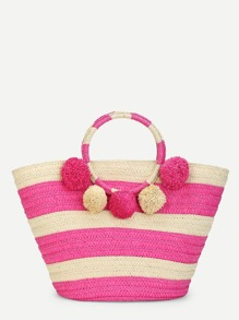 O-Ring Handle Pom Pom Detail Weave Bag