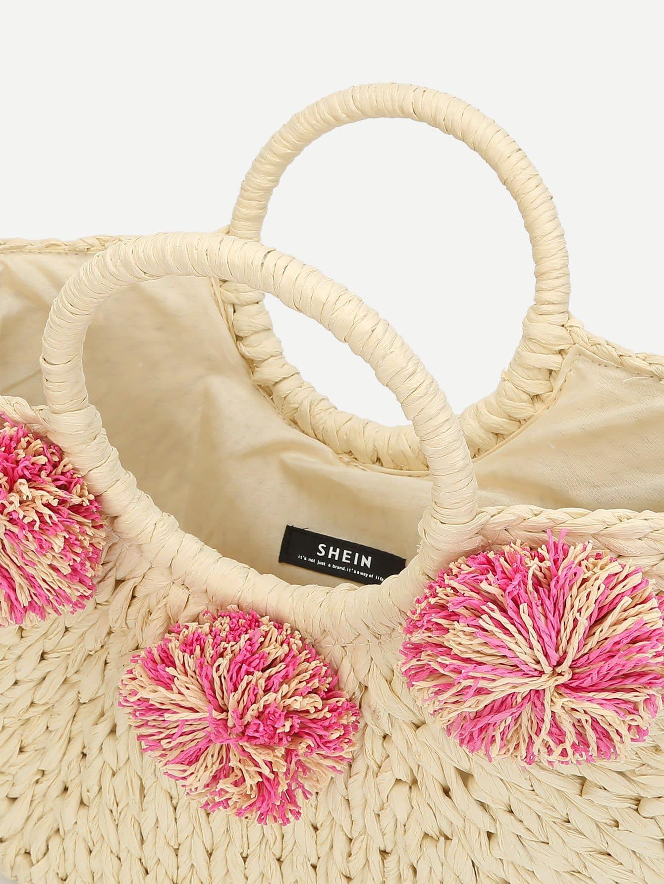 sac fourre tout en paille design de pompon french shein sheinside. Black Bedroom Furniture Sets. Home Design Ideas