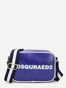Slogan Print PU Crossbody Bag