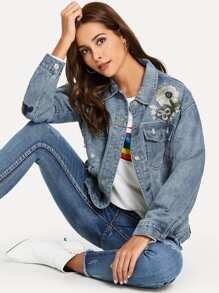 Floral Embroidered Bleach Wash Ripped Denim Jacket