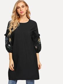 Flower Embroidered Longline Blouse