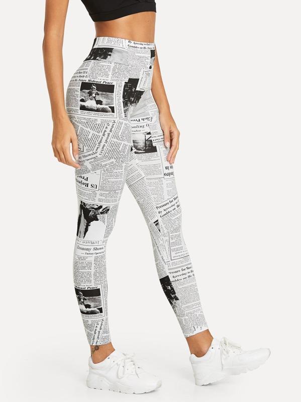 2f8a5701cb Newspaper Print Leggings   SHEIN UK