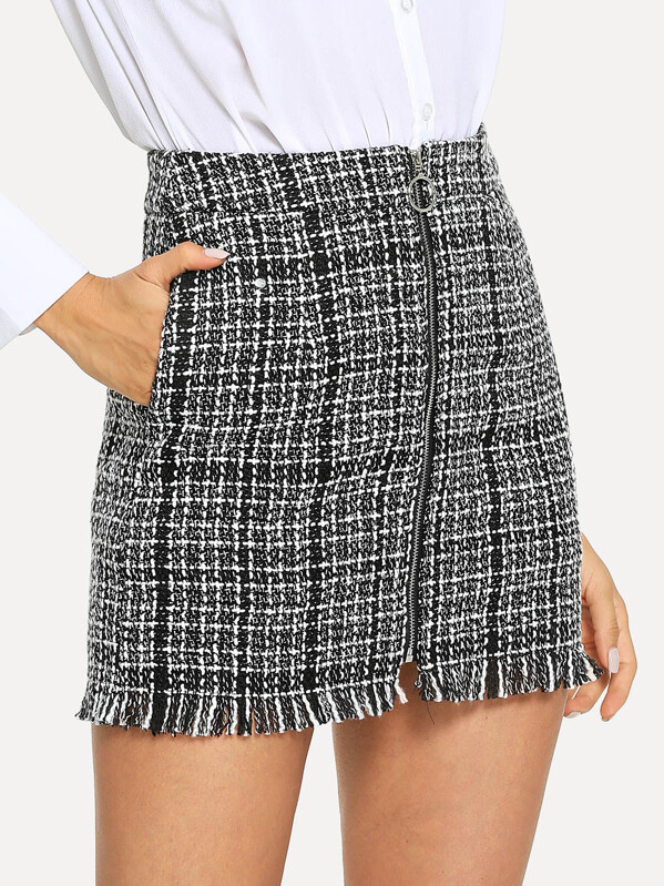 cfe75f039d Cheap Zip Front Frayed Tweed Skirt for sale Australia | SHEIN