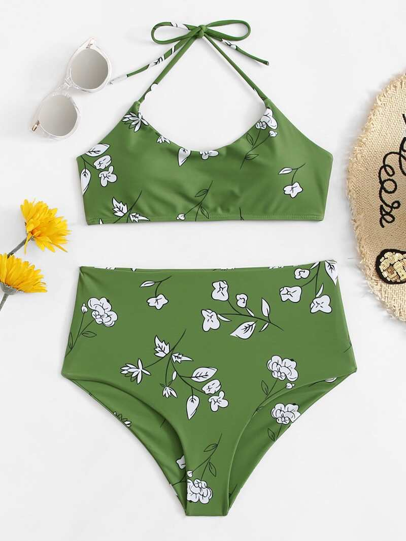 0ec68d241211 Flower Print Halter Top With High Waist Bikini Set