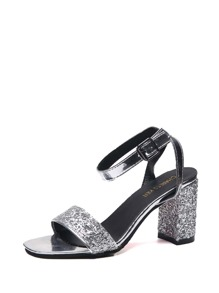 Ankle Strap Glitter Chunky Heels