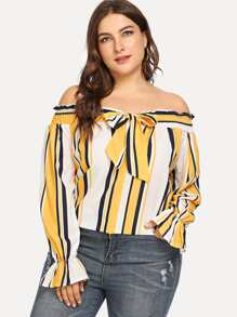 Plus Knot Front Striped Off Shoulder Blouse
