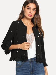 Pearl Beaded Frill Hem Outer