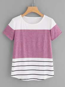 Colorblock Round Neck Tee