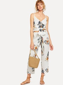 Floral Print Knot Front Cami Top With Pants