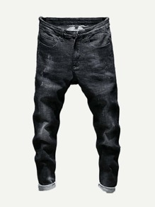 Men Rolled Hem Plain Jeans