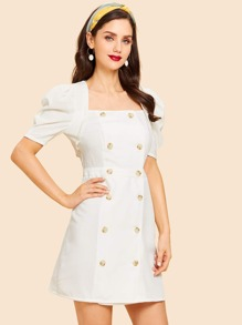 Double Button Puff Sleeve Dress