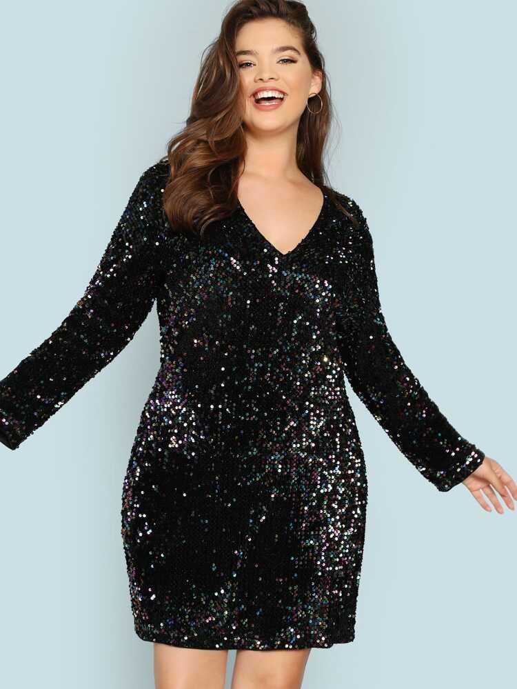 Plus V Neck Iridescent Sequin Dress