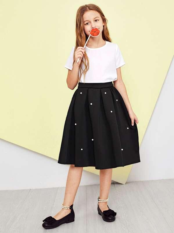 376b25e0fd085e Girls Pearl Embellished Box Pleated Skirt   SHEIN