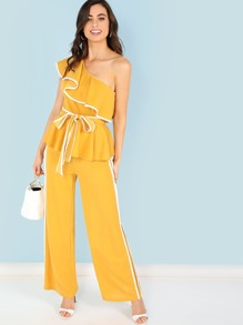 Ruffle Trim Belted Top & Wide Leg Pants Set