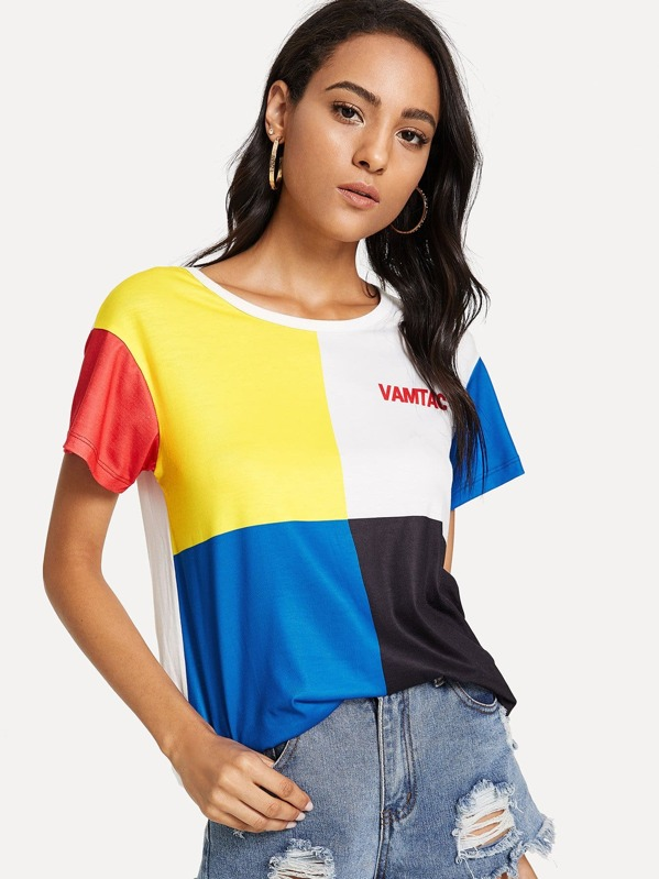Color Block T Shirt by Shein