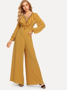 Lace-Up Neck Bishop Sleeve Wide Leg Ruffle Jumpsuit