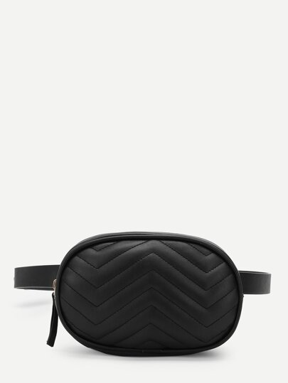 Chevron PU Bum Bag With Adjustable Strap