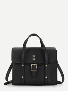 Buckle Detail Flap PU Shoulder Bag