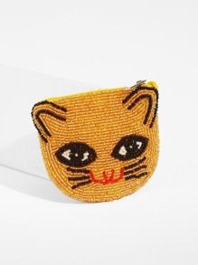 Beaded Cat Pattern Purse