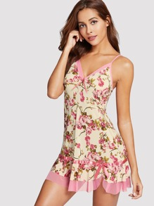 Flower Print Knot Night Dress With Panty