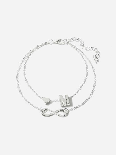 Letter F Detail Layered Chain Ankletfor Women Romwe