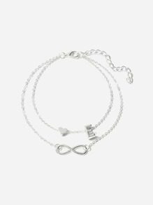 Letter E Detail Layered Chain Anklet