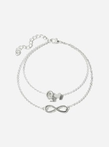 Letter Q Detail Layered Chain Anklet