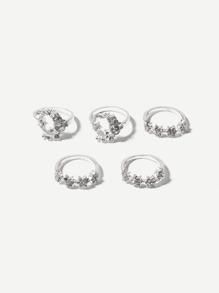 Floral Decorated Ring Set 5pcs