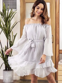 Ruffle Hem Frill Belted Dress