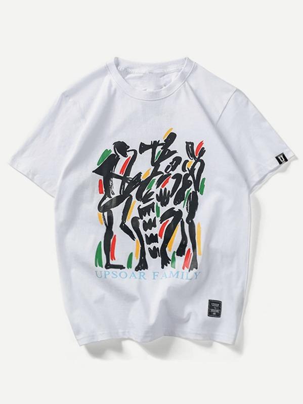 bed8957ea557 Camiseta de hombres con estampado de graffiti y letras