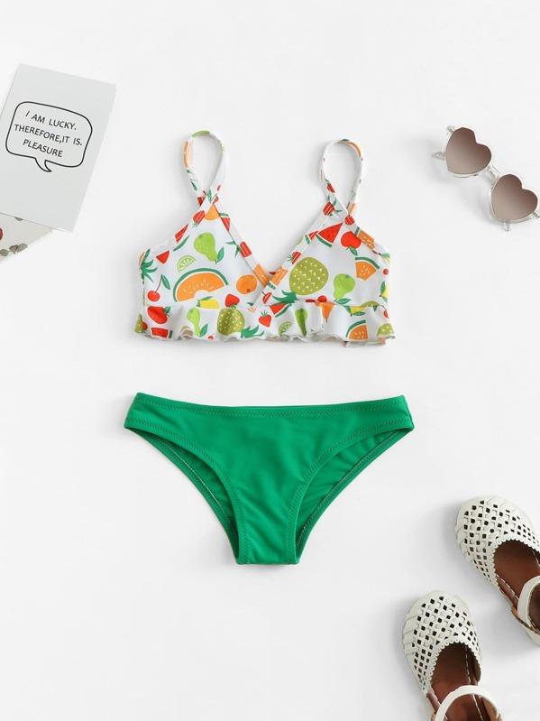 de60728513ab9 Toddler Girls Fruit Print Ruffle Bikini Set | SHEIN UK