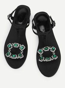 Crystal Decorated Toe Post Sandals