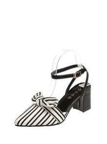 Striped Detail Ankle Strap Heels