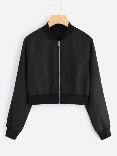 Solid Zip Up Front Crop Jacket