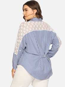 Plus Contrast Lace Striped Blouse